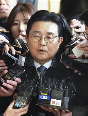 20日、ソウル中央地検に出頭した前政務首席秘書官の田炳憲氏(共同)