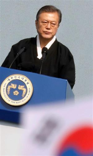 文大統領は「三・一節」で演説した=1日、ソウル(ロイター)