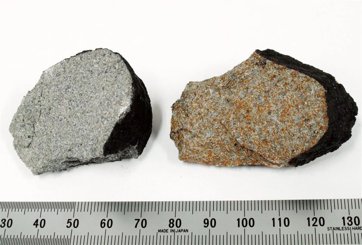 「習志野隕石」の2個の破片(国立科学博物館提供)