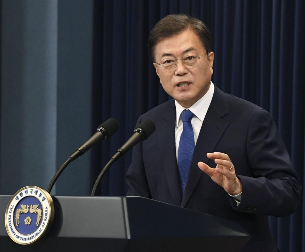 韓国の文在寅大統領=今年5月、韓国ソウル(共同)