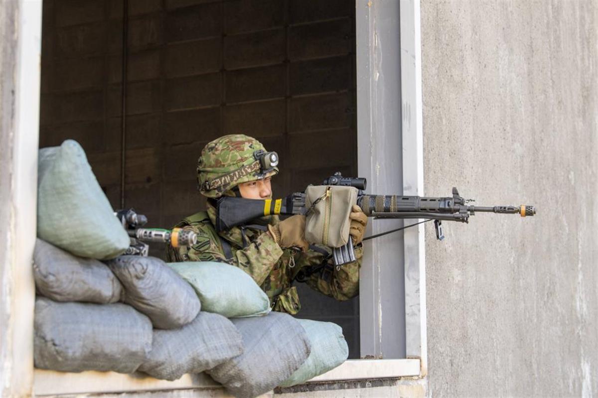 霧島演習場(宮崎県えびの市)で行われた市街地戦闘訓練