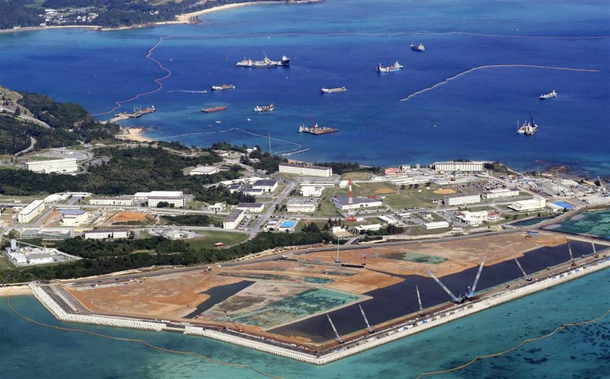 埋め立てが進む米軍キャンプ・シュワブ(沖縄県名護市辺野古)の沿岸部