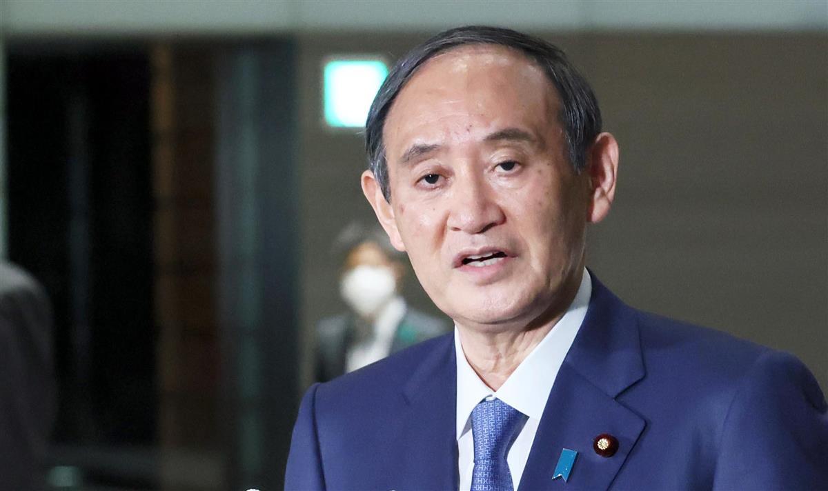 温室効果ガスの削減目標値について記者団の質問に答える菅義偉首相