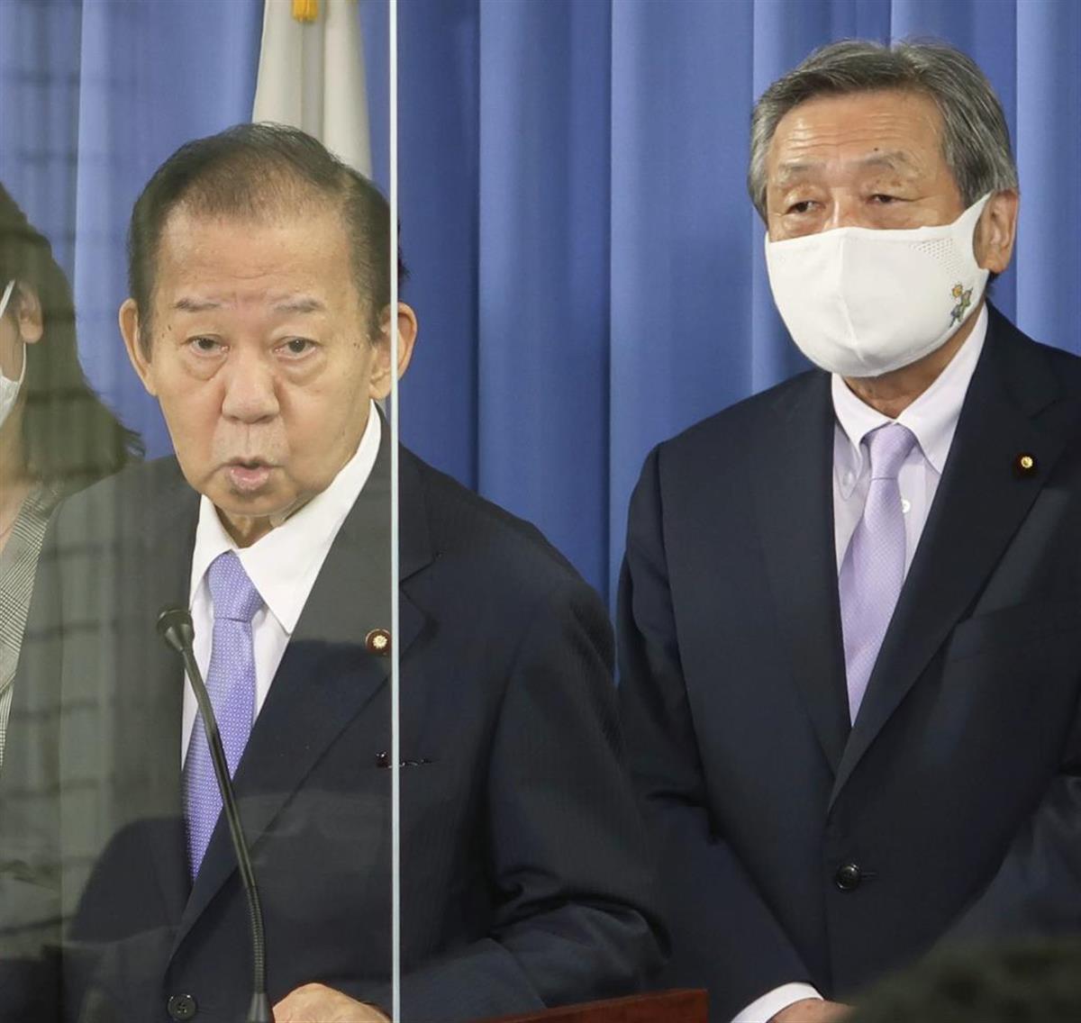 自民党の二階幹事長(左)と、林幹事長代理