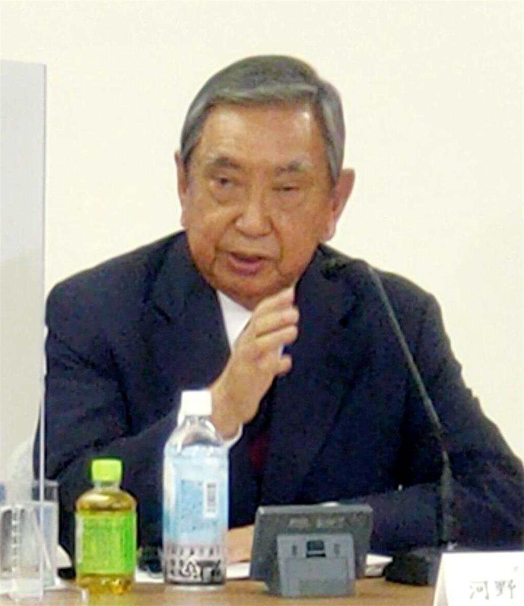河野洋平氏は、自民党本部で講演した=7日