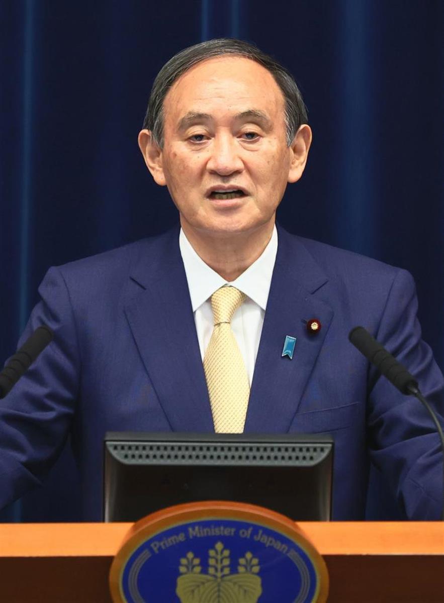 菅首相の記者会見(共同)